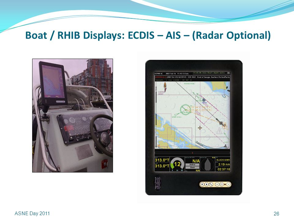Boat / RHIB Displays: ECDIS – AIS – (Radar Optional) ASNE Day 2011 26