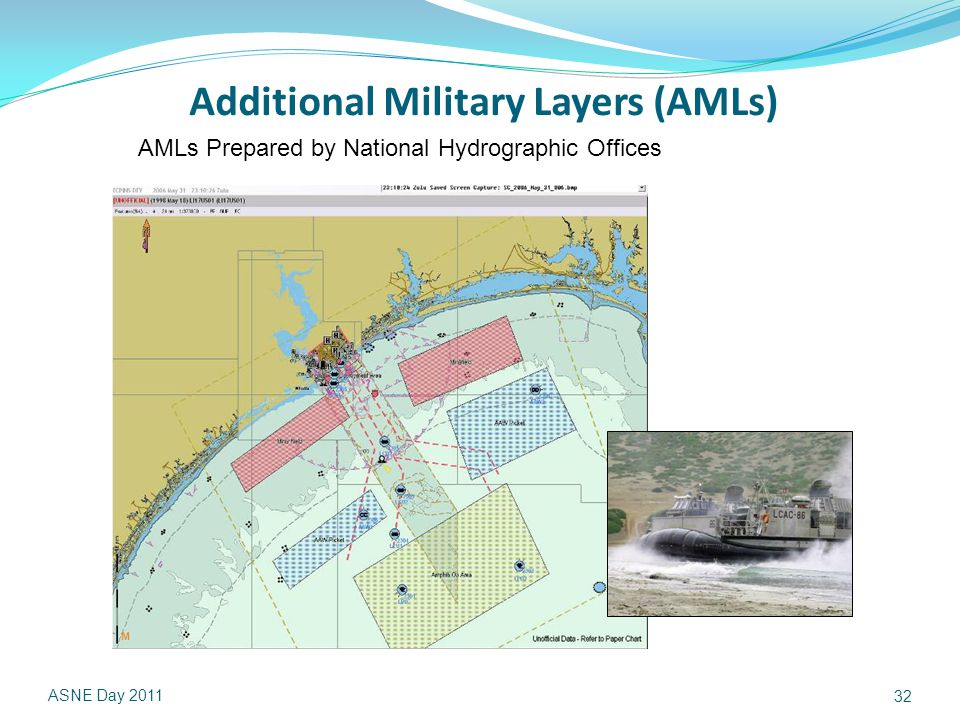 Additional Military Layers (AMLs) ASNE Day 2011 32 AMLs Prepared by National Hydrographic Offices