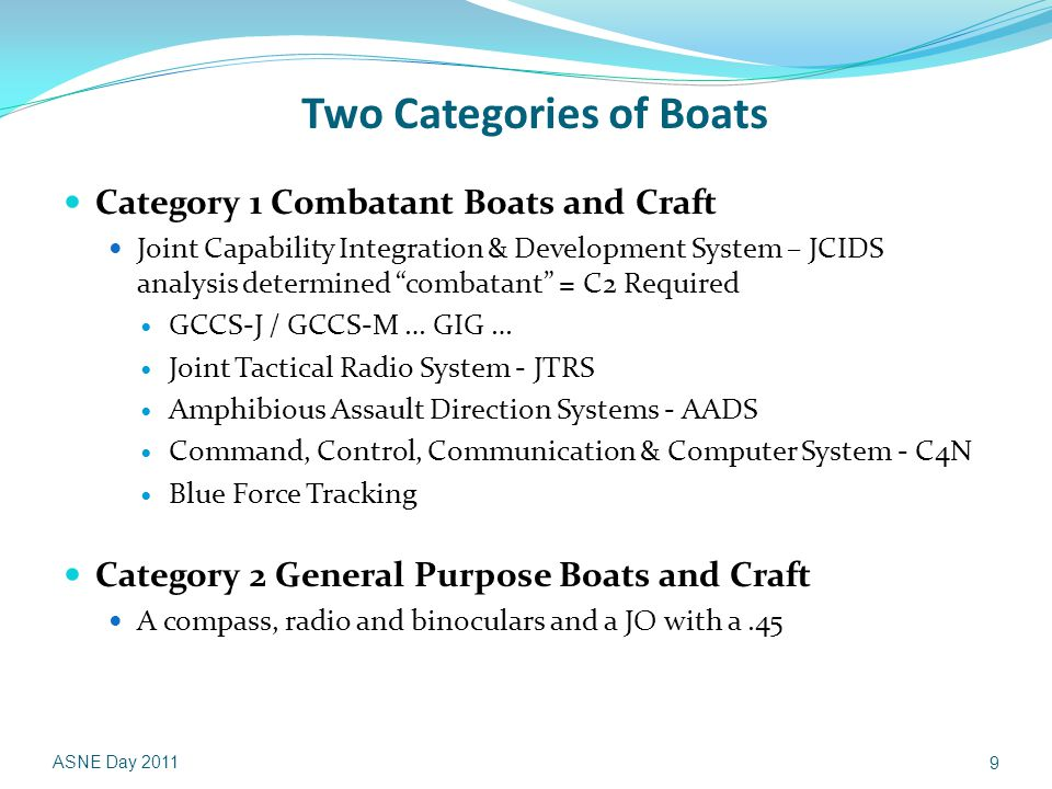 Two Categories of Boats Category 1 Combatant Boats and Craft Joint Capability Integration & Development System – JCIDS analysis determined combatant = C2 Required GCCS-J / GCCS-M … GIG … Joint Tactical Radio System - JTRS Amphibious Assault Direction Systems - AADS Command, Control, Communication & Computer System - C4N Blue Force Tracking Category 2 General Purpose Boats and Craft A compass, radio and binoculars and a JO with a.45 ASNE Day 2011 9