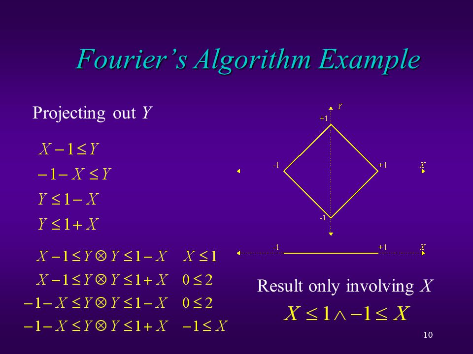 10 Fourier's Algorithm Example Projecting out Y Result only involving X