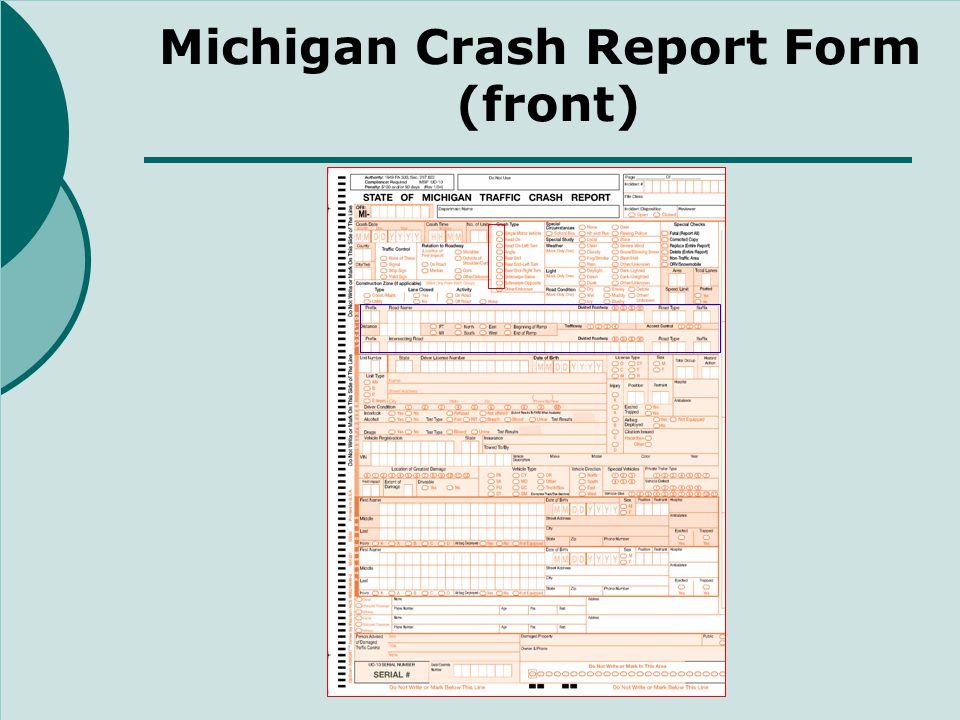 Michigan Crash Report Form (back)