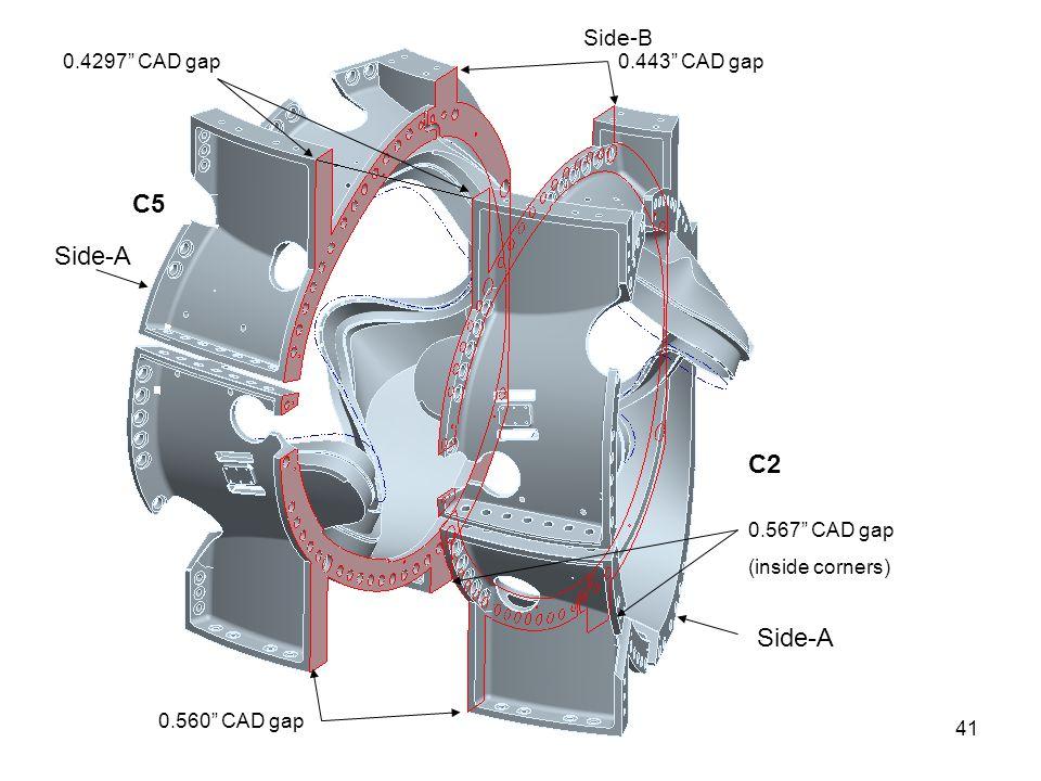 41 0.4297 CAD gap C2 C5 0.443 CAD gap 0.560 CAD gap 0.567 CAD gap (inside corners) Side-B Side-A