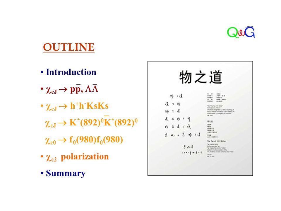 OUTLINE Introduction  cJ  pp,   cJ  h + h - KsKs  cJ  K * (892) 0 K * (892) 0  c0  f 0 (980)f 0 (980)  c2 polarization Summary  