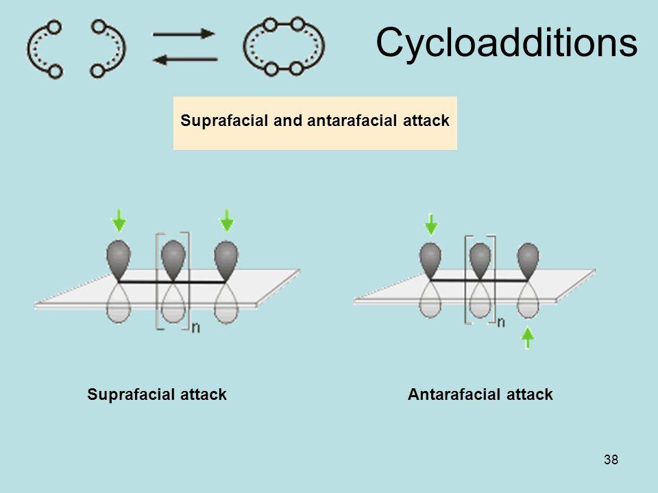 38 Cycloadditions Suprafacial attackAntarafacial attack Suprafacial and antarafacial attack