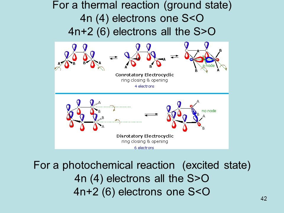 42 For a thermal reaction (ground state) 4n (4) electrons one S O For a photochemical reaction (excited state) 4n (4) electrons all the S>O 4n+2 (6) e