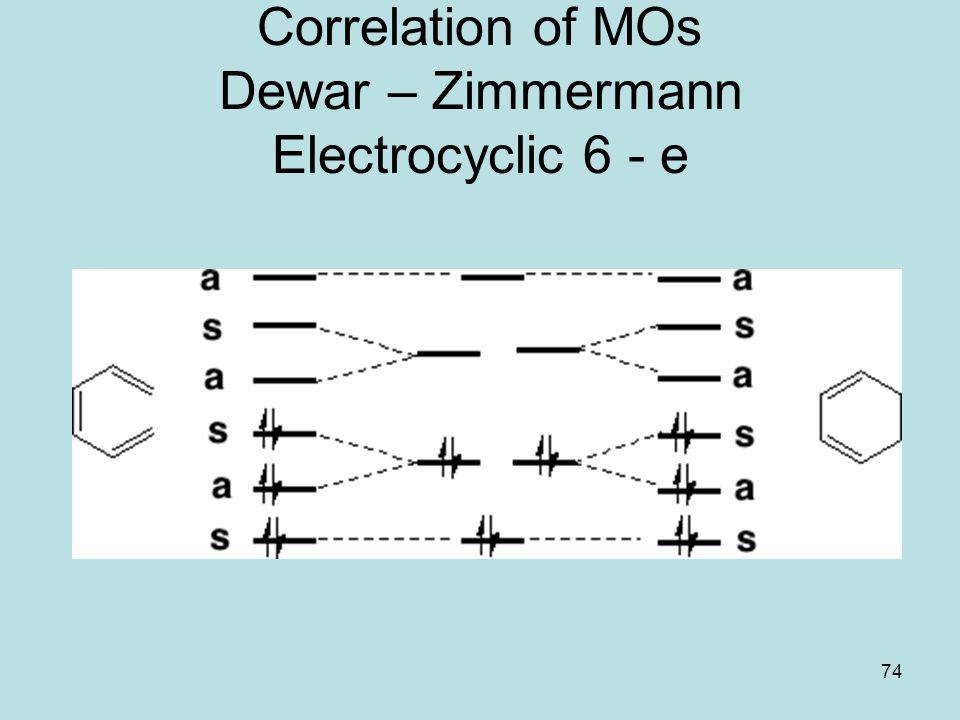 74 Correlation of MOs Dewar – Zimmermann Electrocyclic 6 - e
