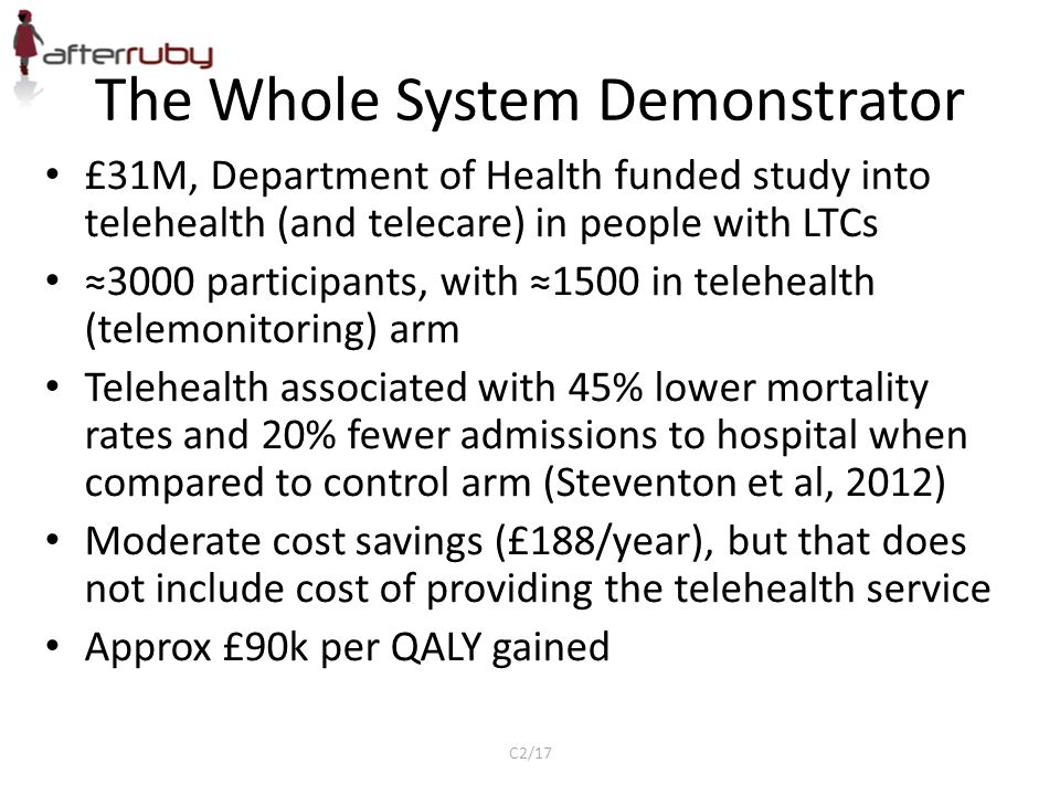 The Whole System Demonstrator £31M, Department of Health funded study into telehealth (and telecare) in people with LTCs ≈3000 participants, with ≈150