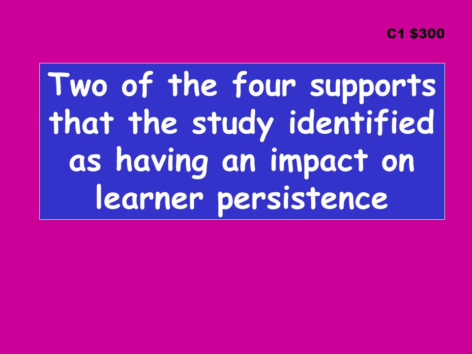 Two of the four supports that the study identified as having an impact on learner persistence C1 $300