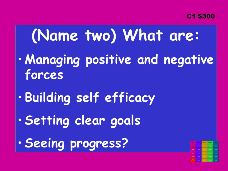 (Name two) What are: Managing positive and negative forces Building self efficacy Setting clear goals Seeing progress.