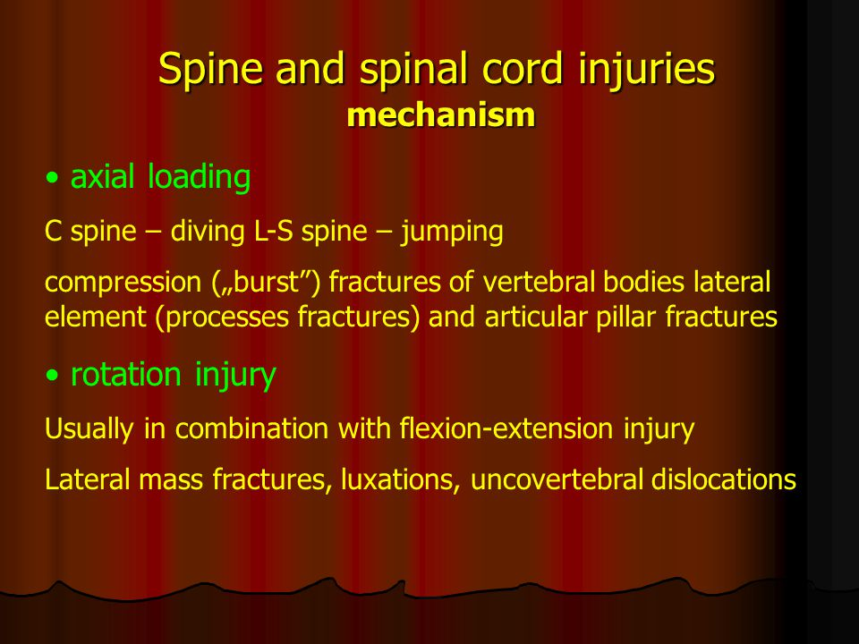 Spine and spinal cord injuries effects oseous changes, fractures posttraumatic instabilities and spondylolistheses posttraumatic disc herniations spinal cord contusion spinal cord compression vascular spinal cord injury
