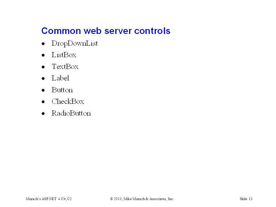 Murach's ASP.NET 4/C#, C2© 2011, Mike Murach & Associates, Inc.Slide 13