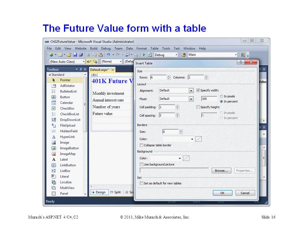 Murach's ASP.NET 4/C#, C2© 2011, Mike Murach & Associates, Inc.Slide 16