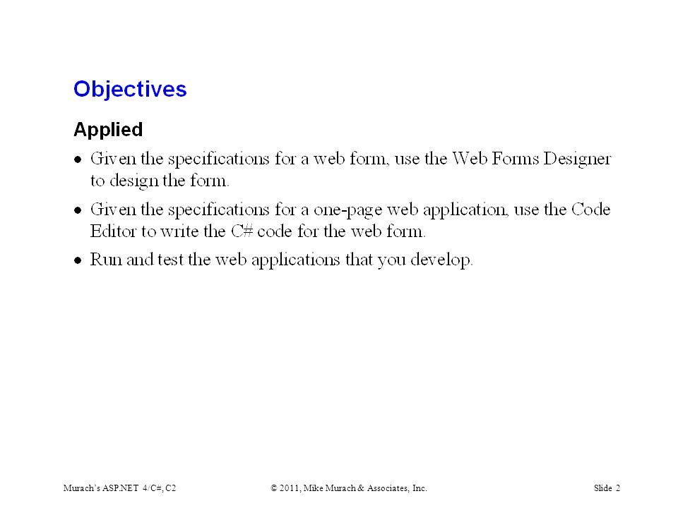 Murach's ASP.NET 4/C#, C2© 2011, Mike Murach & Associates, Inc.Slide 2