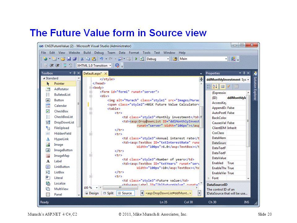 Murach's ASP.NET 4/C#, C2© 2011, Mike Murach & Associates, Inc.Slide 20