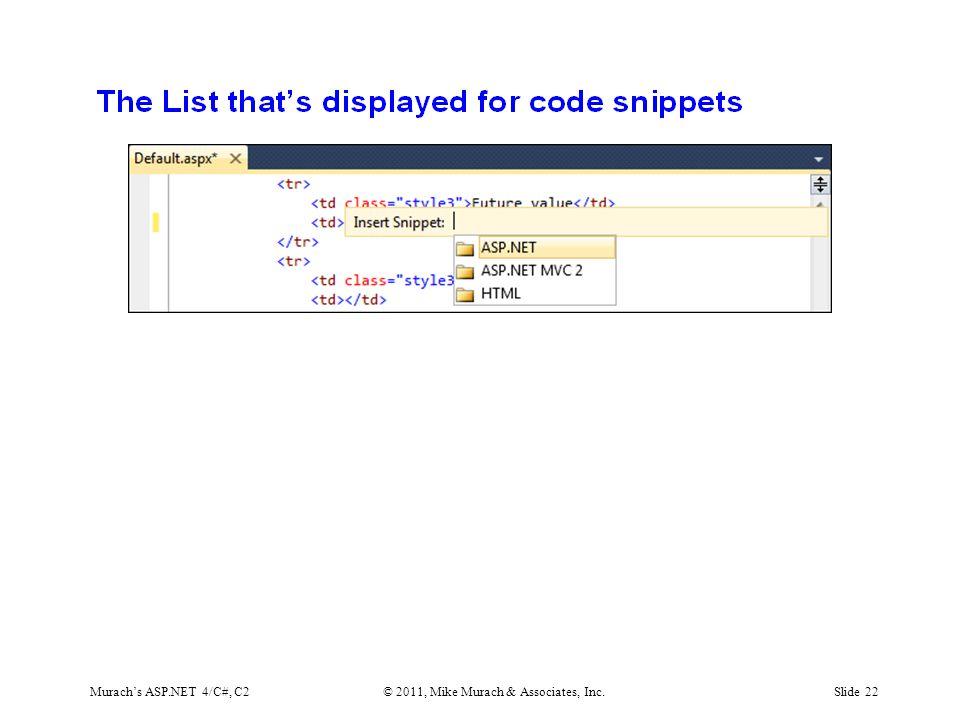 Murach's ASP.NET 4/C#, C2© 2011, Mike Murach & Associates, Inc.Slide 22