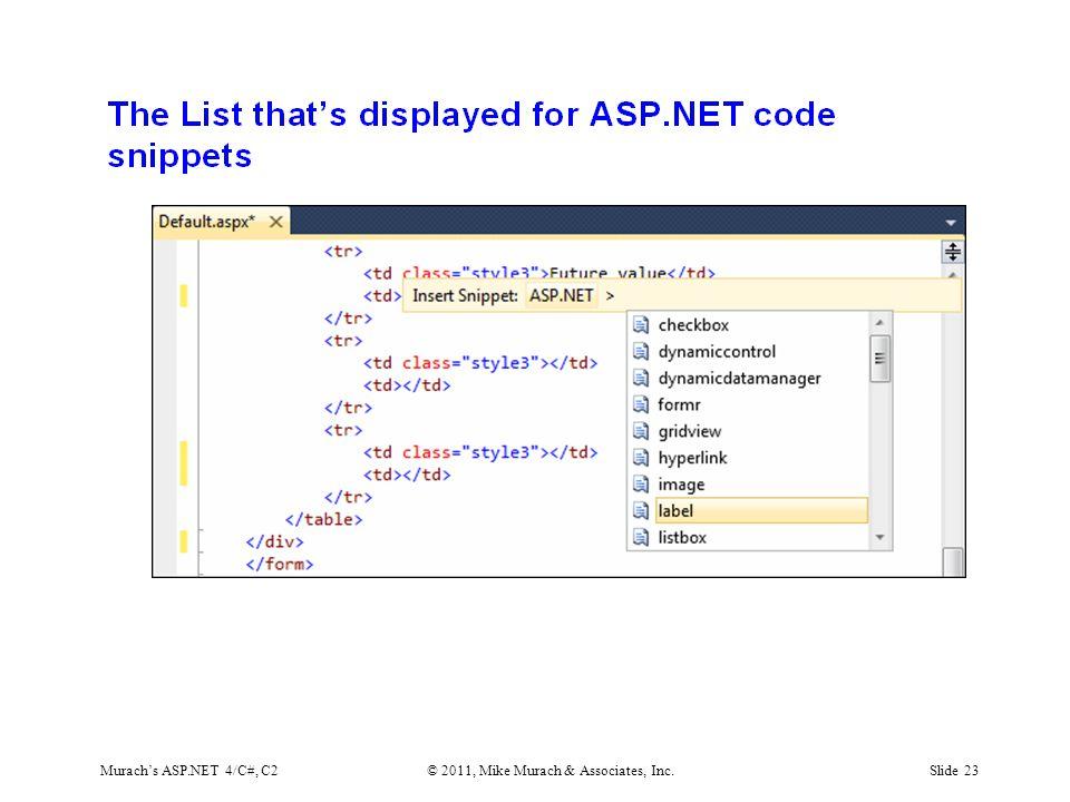 Murach's ASP.NET 4/C#, C2© 2011, Mike Murach & Associates, Inc.Slide 23