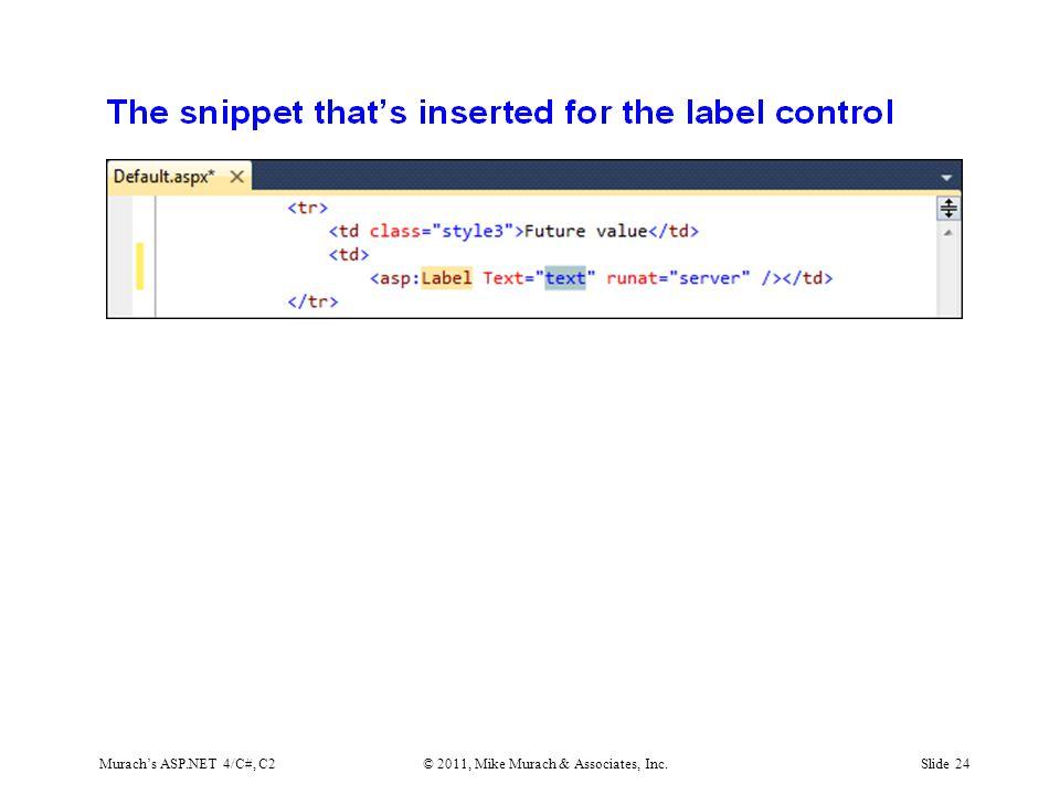 Murach's ASP.NET 4/C#, C2© 2011, Mike Murach & Associates, Inc.Slide 24