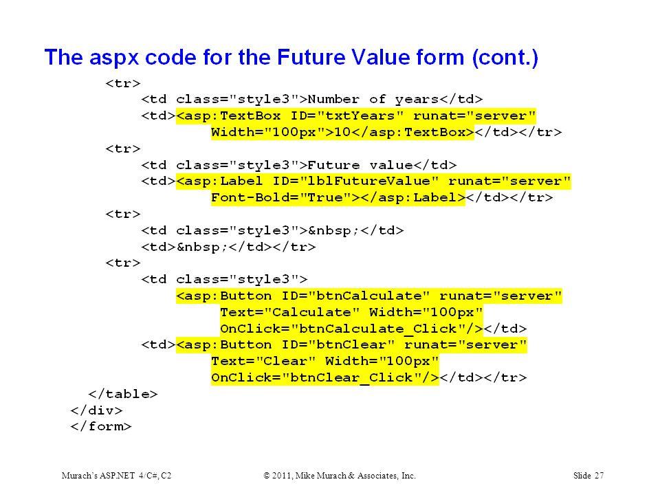 Murach's ASP.NET 4/C#, C2© 2011, Mike Murach & Associates, Inc.Slide 27