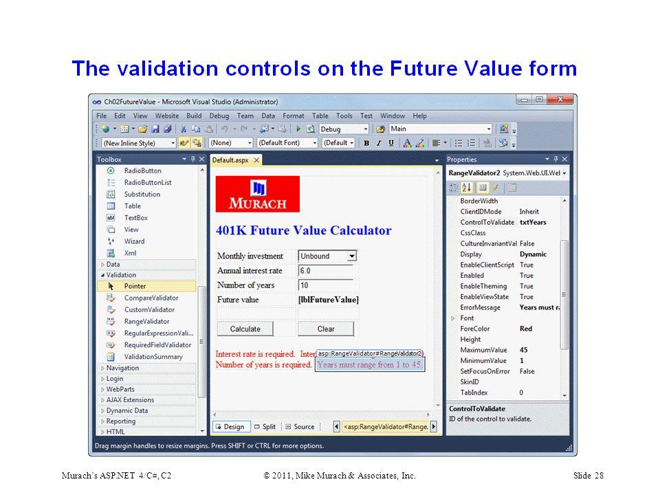 Murach's ASP.NET 4/C#, C2© 2011, Mike Murach & Associates, Inc.Slide 28