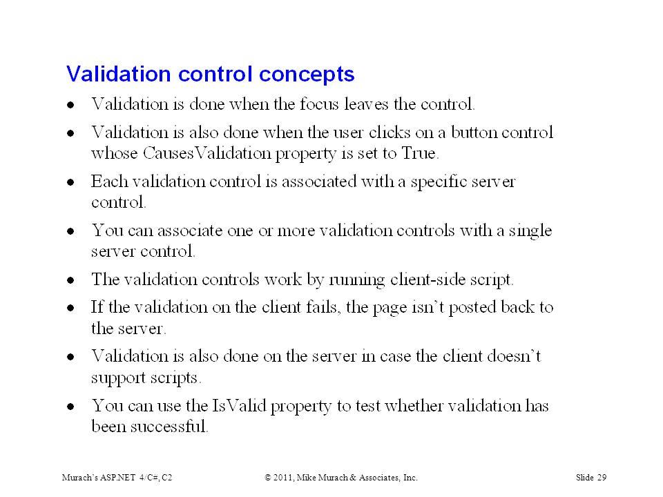 Murach's ASP.NET 4/C#, C2© 2011, Mike Murach & Associates, Inc.Slide 29