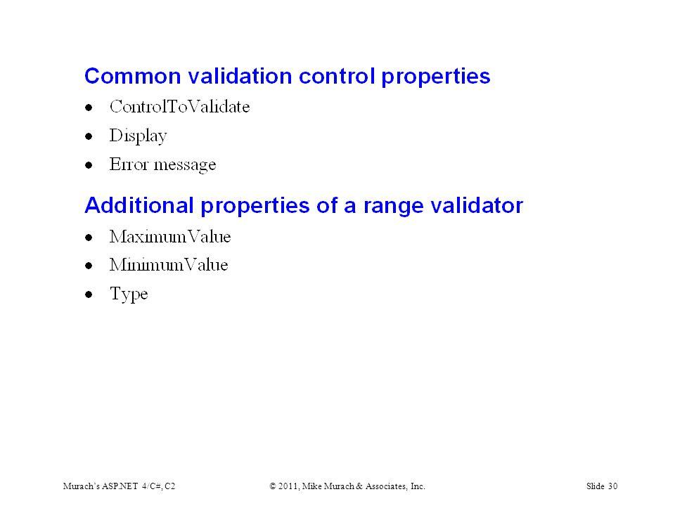 Murach's ASP.NET 4/C#, C2© 2011, Mike Murach & Associates, Inc.Slide 30