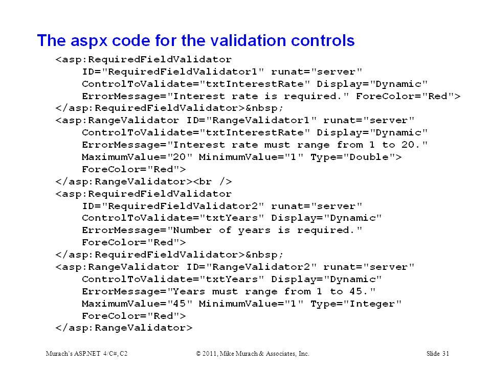 Murach's ASP.NET 4/C#, C2© 2011, Mike Murach & Associates, Inc.Slide 31