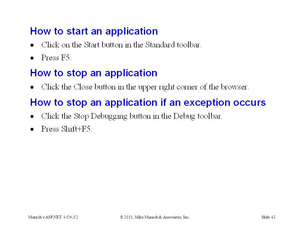 Murach's ASP.NET 4/C#, C2© 2011, Mike Murach & Associates, Inc.Slide 42