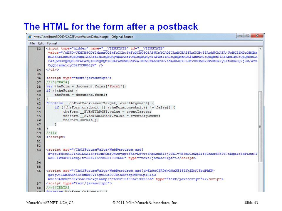 Murach's ASP.NET 4/C#, C2© 2011, Mike Murach & Associates, Inc.Slide 43