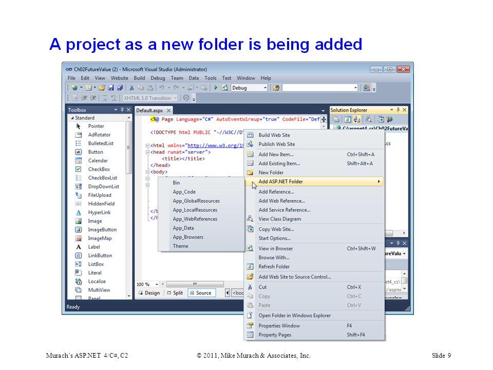 Murach's ASP.NET 4/C#, C2© 2011, Mike Murach & Associates, Inc.Slide 9