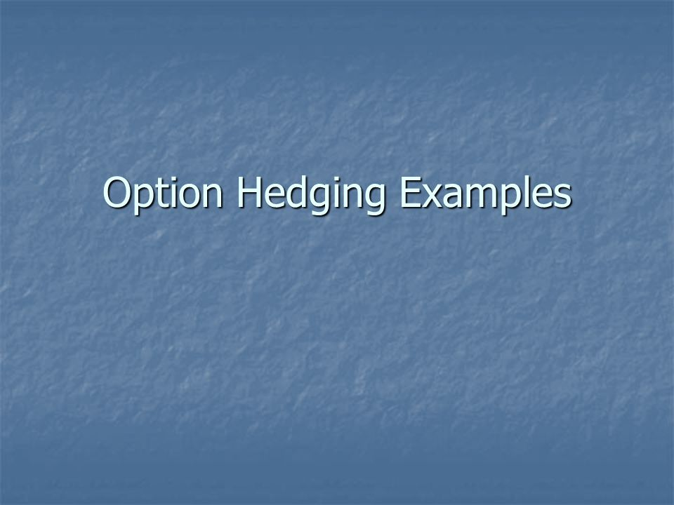 Option Hedging Examples