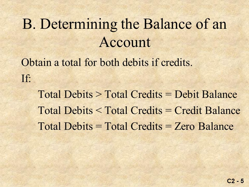 C2 - 5 B.Determining the Balance of an Account Obtain a total for both debits if credits.