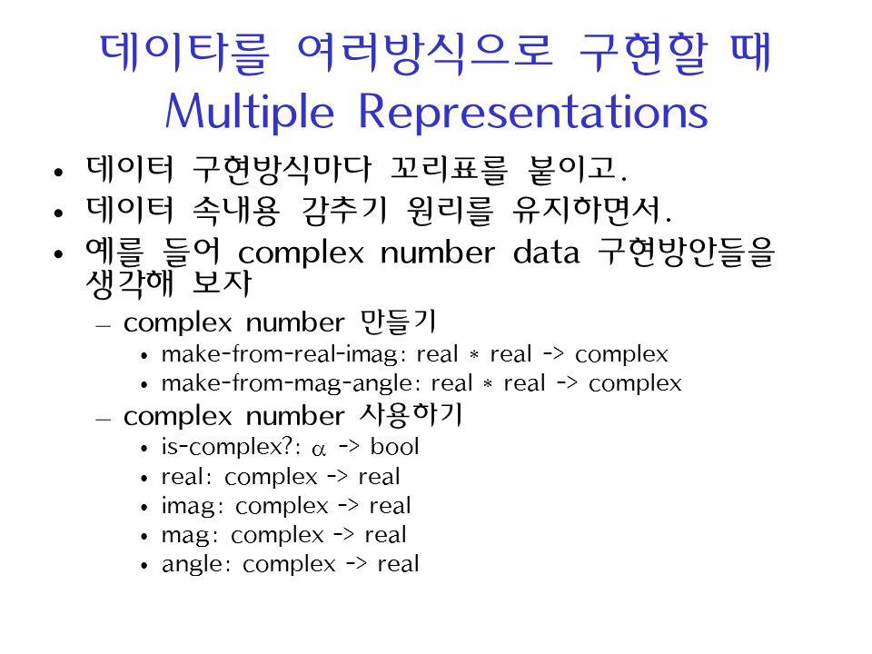 데이타를 여러방식으로 구현할 때 Multiple Representations 데이터 구현방식마다 꼬리표를 붙이고. 데이터 속내용 감추기 원리를 유지하면서. 예를 들어 complex number data 구현방안들을 생각해 보자 – complex number 만들기 ma