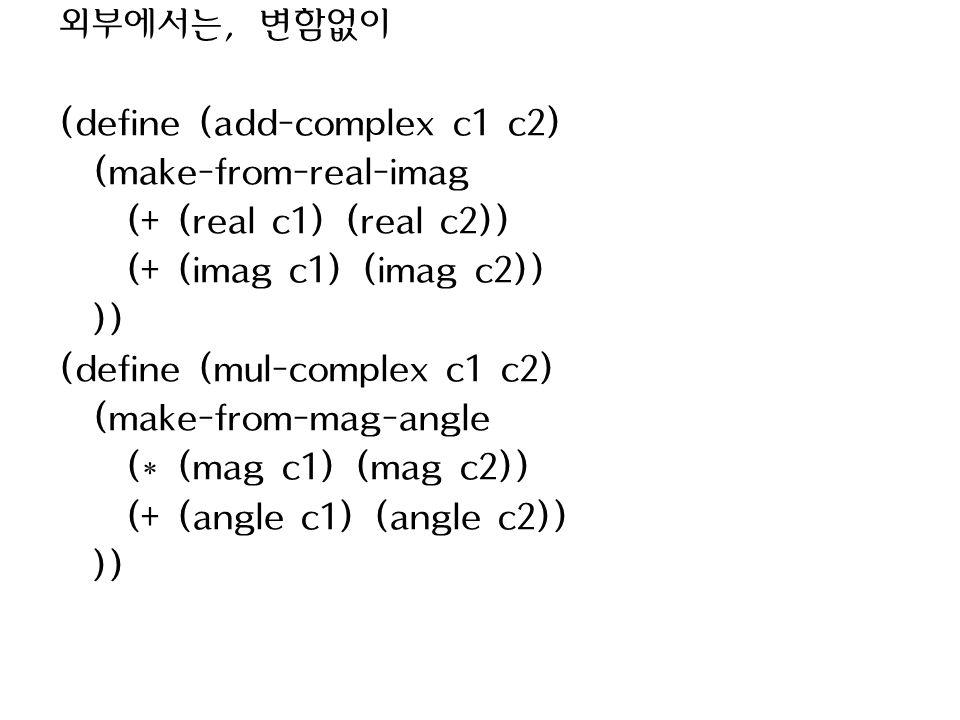 외부에서는, 변함없이 (define (add-complex c1 c2) (make-from-real-imag (+ (real c1) (real c2)) (+ (imag c1) (imag c2)) )) (define (mul-complex c1 c2) (make-from