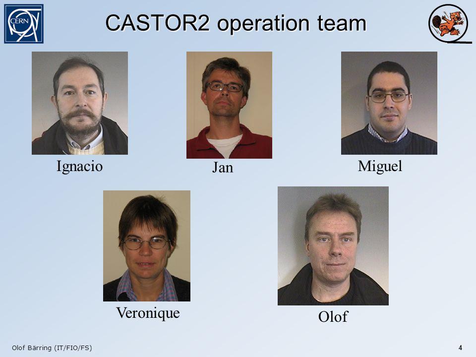 Olof Bärring (IT/FIO/FS) 4 CASTOR2 operation team Jan Veronique MiguelIgnacio Olof