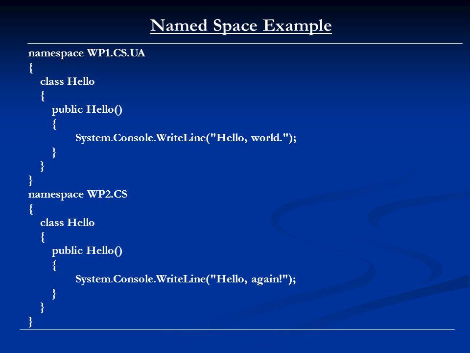 Class Code class Point { public int x; public int y; } Point p1 = new Point (); p1.x = 1; p1.y = 2; Point p2 = p1; // Copies the underlying pointer p2.x = 3; p2.y = 4; Console.WriteLine ( p1 = ({0}, {1}) , p1.x, p1.y); Console.WriteLine ( p2 = ({0}, {1}) , p2.x, p2.y); Point p3; p3.x = 5; p3.y = 6;
