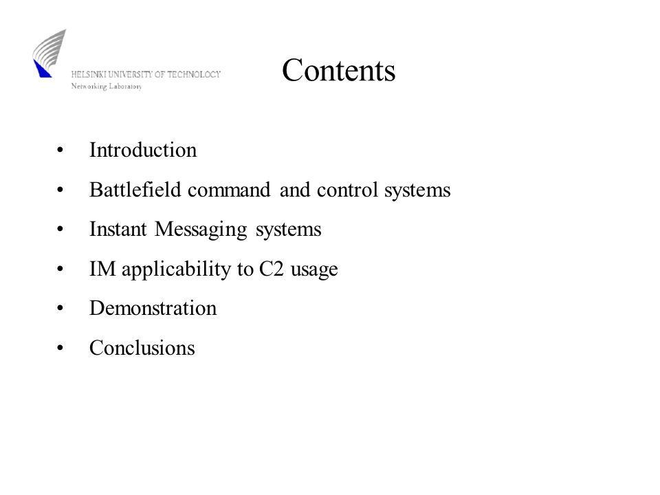 Introduction Many different IM applications available for free of charge IETF effords has created specifications and standards Security plays an important role in IM environments The requirements for the next generation IM systems are increasing The purpose of this thesis is to study the applicability and possibility of using commercially available IM systems in military C2IS (Command and Control Information Systems)