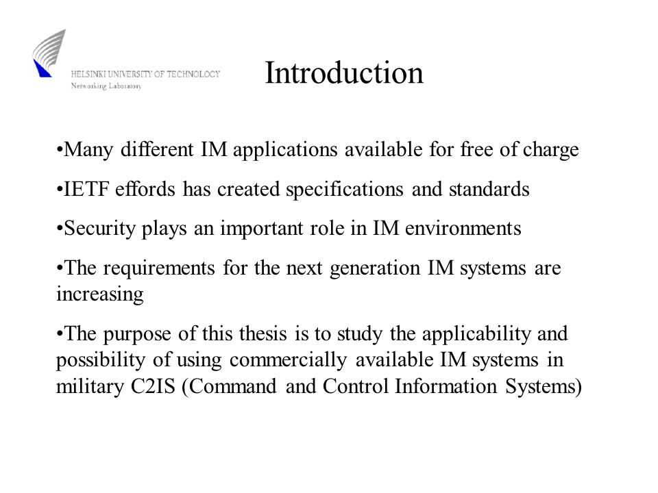 C2 Systems Command and Control (C2) messages are text messages used in military systems for data providing C2 messages can be created manually or automatically Receiving, interpretation and presentation can be automated C2 messages are independent of the physical layer Building new C2 systems is done parallel to old ones so that there is always one mechanism ready to be deployed C2 systems are not easily replaced by newer systems due to the switching costs