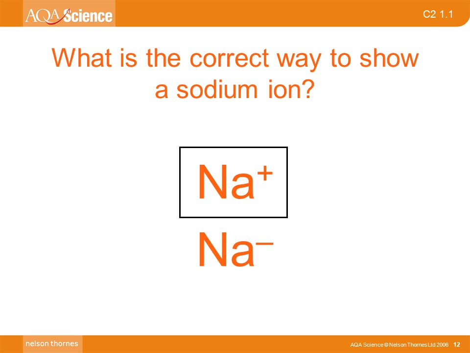 C2 1.1 AQA Science © Nelson Thornes Ltd 2006 12 What is the correct way to show a sodium ion? Na + Na –