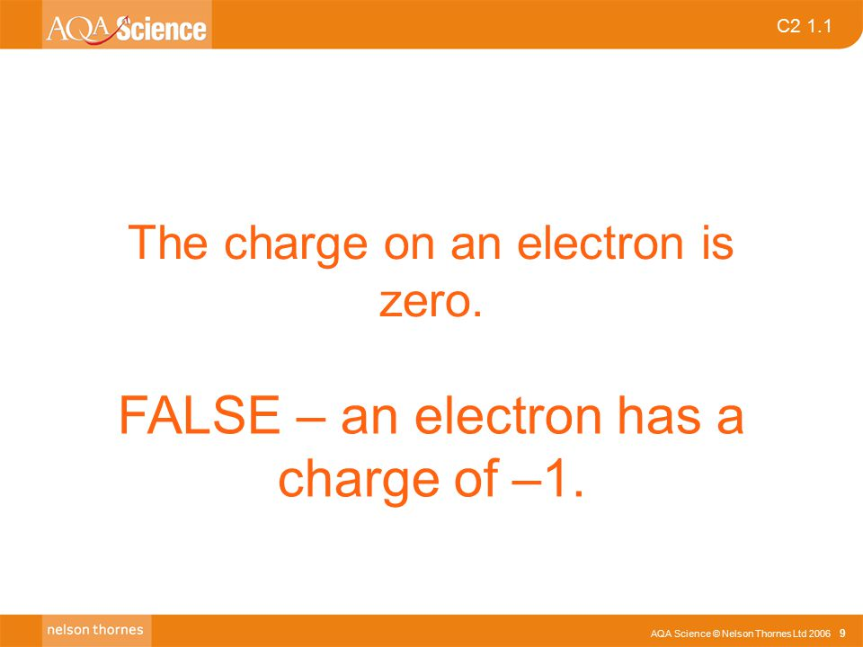 AQA Science © Nelson Thornes Ltd 2006 9 C2 1.1 The charge on an electron is zero.