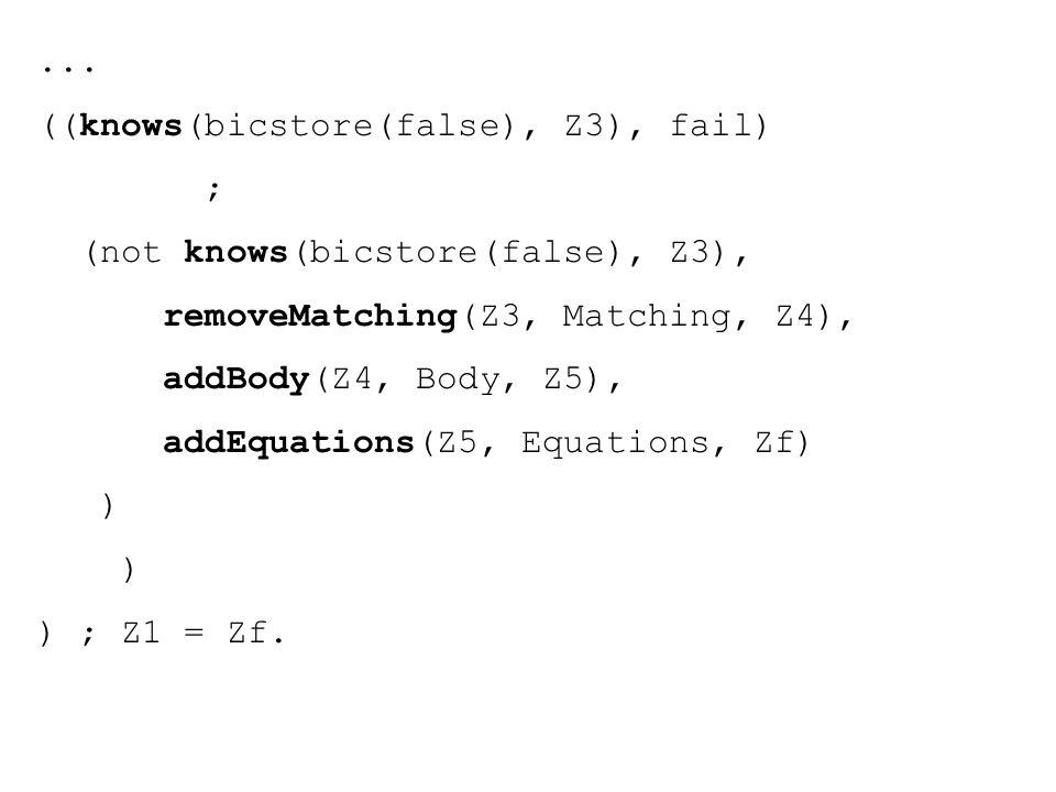 ... ((knows(bicstore(false), Z3), fail) ; (not knows(bicstore(false), Z3), removeMatching(Z3, Matching, Z4), addBody(Z4, Body, Z5), addEquations(Z5, E