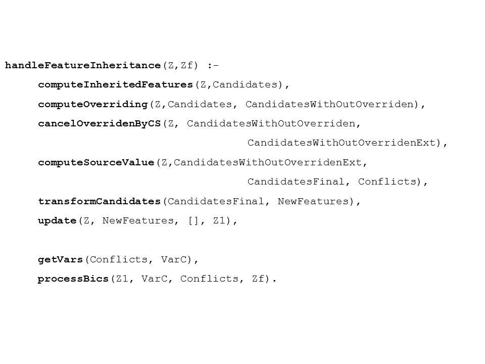 handleFeatureInheritance(Z,Zf) :- computeInheritedFeatures(Z,Candidates), computeOverriding(Z,Candidates, CandidatesWithOutOverriden), cancelOverriden