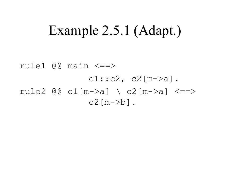 Example 2.5.1 (Adapt.) rule1 @@ main c1::c2, c2[m->a]. rule2 @@ c1[m->a] \ c2[m->a] c2[m->b].