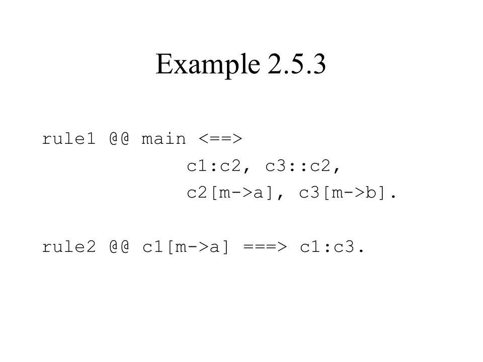 Example 2.5.3 rule1 @@ main c1:c2, c3::c2, c2[m->a], c3[m->b]. rule2 @@ c1[m->a] ===> c1:c3.