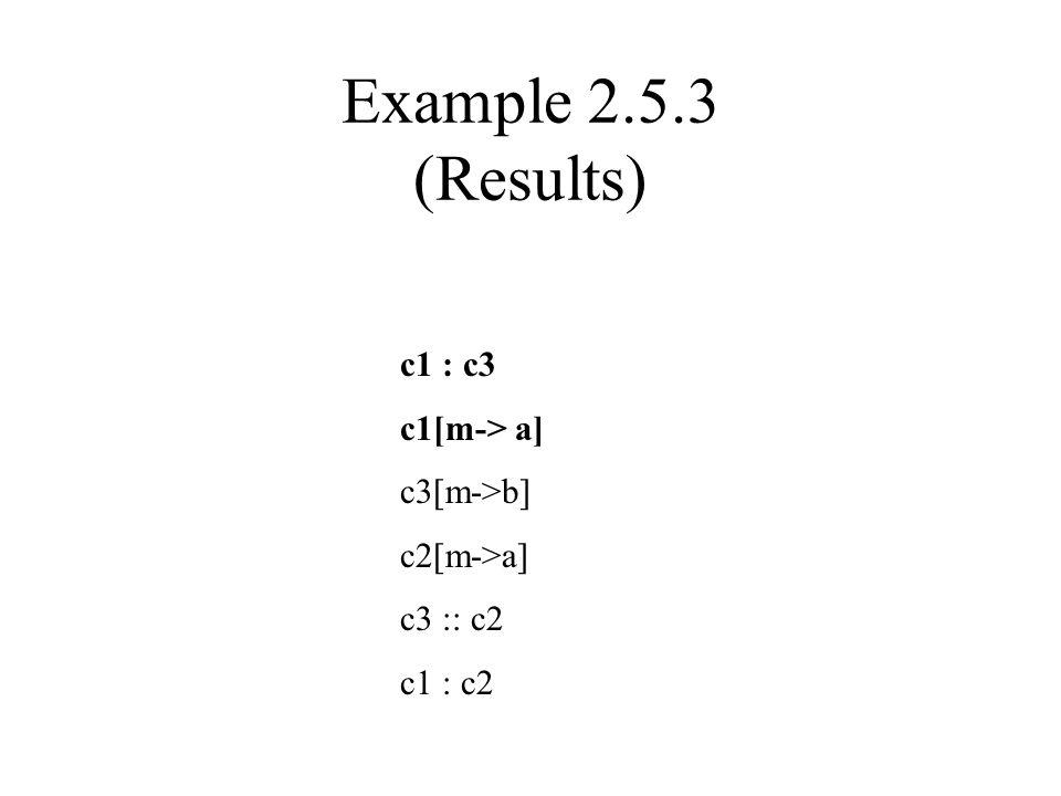 Example 2.5.3 (Results) c1 : c3 c1[m-> a] c3[m->b] c2[m->a] c3 :: c2 c1 : c2