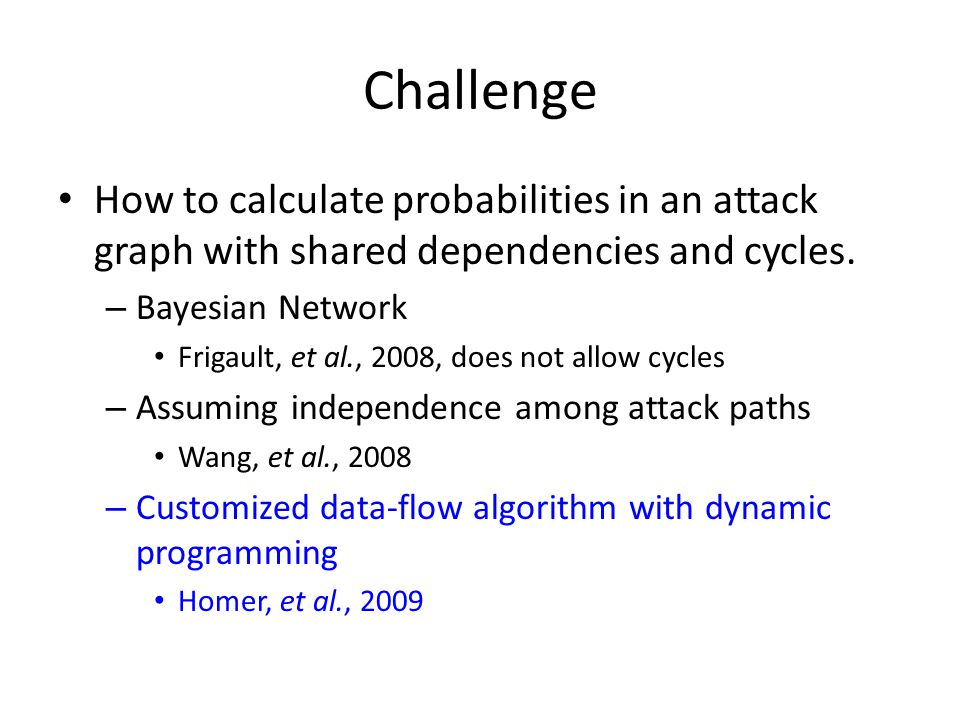 Challenge How to calculate probabilities in an attack graph with shared dependencies and cycles. – Bayesian Network Frigault, et al., 2008, does not a