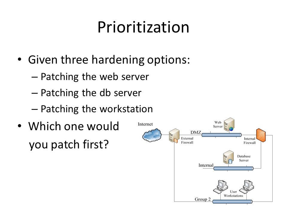 Prioritization Given three hardening options: – Patching the web server – Patching the db server – Patching the workstation Which one would you patch