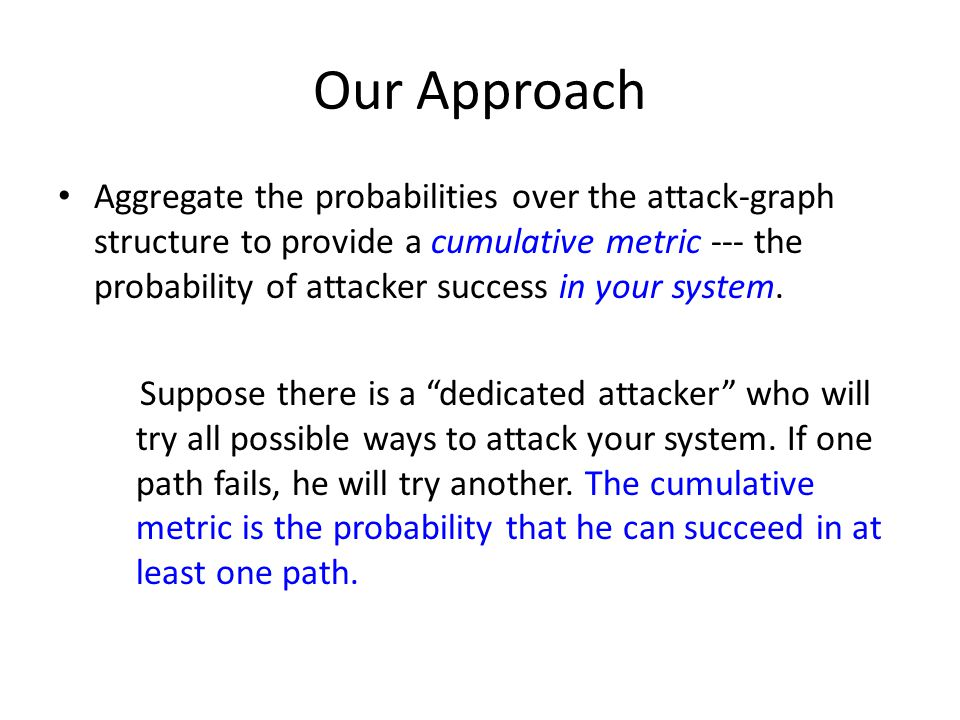 Our Approach Aggregate the probabilities over the attack-graph structure to provide a cumulative metric --- the probability of attacker success in you