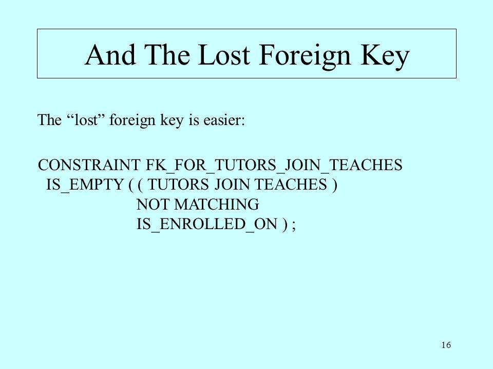 """16 And The Lost Foreign Key The """"lost"""" foreign key is easier: CONSTRAINT FK_FOR_TUTORS_JOIN_TEACHES IS_EMPTY ( ( TUTORS JOIN TEACHES ) NOT MATCHING IS"""