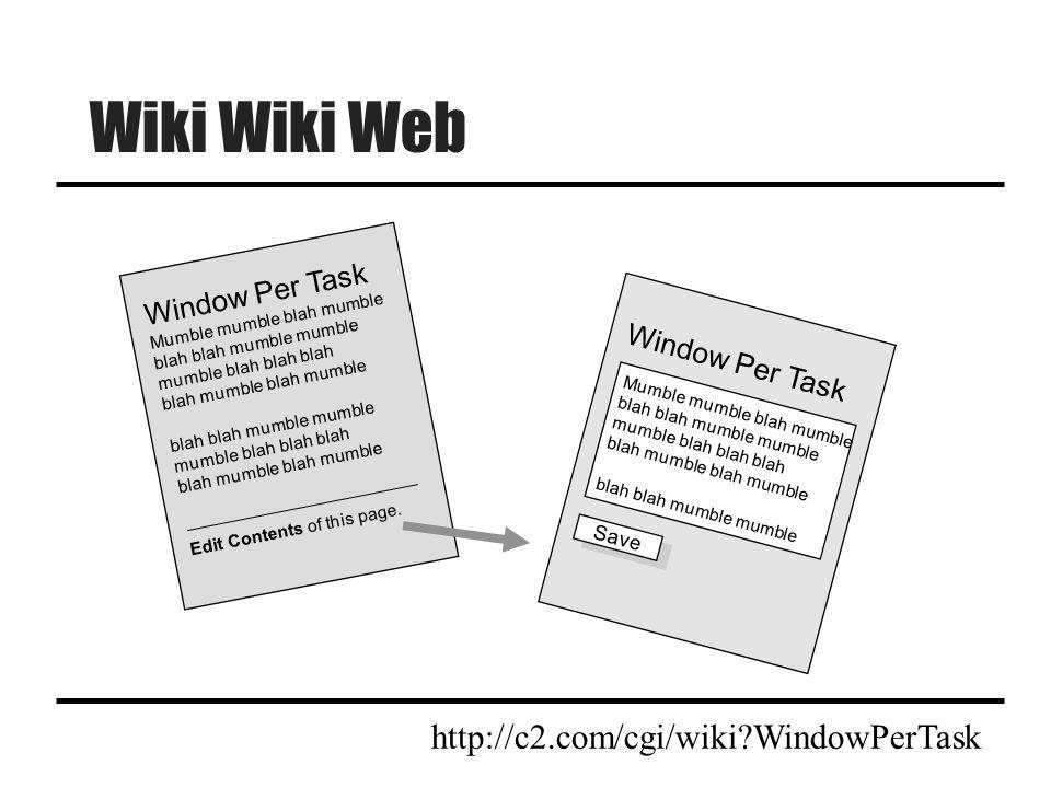Wiki Wiki Web Window Per Task Mumble mumble blah mumble blah blah mumble mumble mumble blah blah blah blah mumble blah blah mumble mumble mumble blah blah blah blah mumble Edit Contents of this page.
