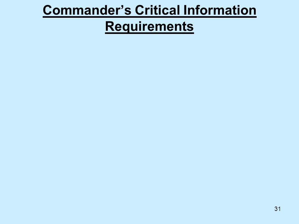 31 Commander's Critical Information Requirements